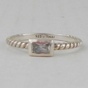 Silpada Belle Fleur Stack Ring CZ Rope Band Silver